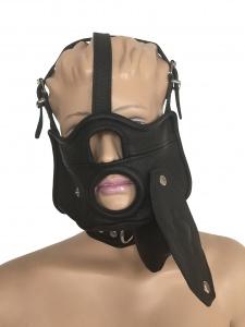 Maske mit Öffnung, abknüpfbarem Mundknebel und integrierter Halsfessel - 0518 SM