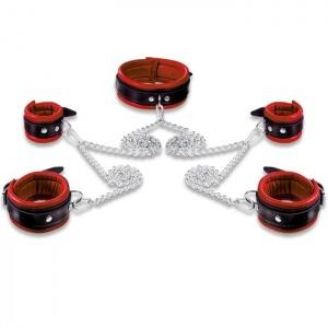 Leder Fesselset Rot mit 1,80 m Kette und 5 Karabinerhaken - 0105-R