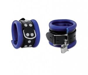 Leder Handfessel Blau abschließbar - 0101-2BK