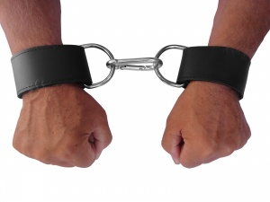 Leder Handfessel mit großen D-Ringen - 0313-2
