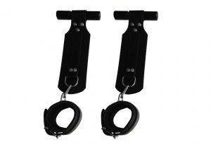 Leder Türfhängesystem mit Handfessel Schwarz und Karabiner - 0331