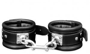 Leder Fußfessel Schwarz mit drehbaren Edelstahlringen - 0103-3S