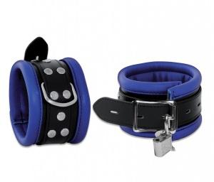 Leder Fußfessel Blau abschließbar - 0101-3BK