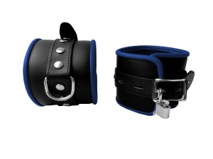 Leder Fußfessel Blau abschließbar - 0299-3BK