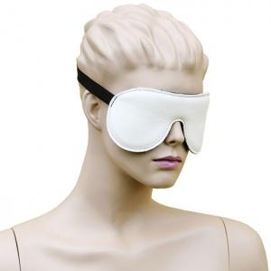 Leder Augenmaske mit Gummizug Weiß-Schwarz - 0126-WS