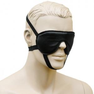 Leder Augenmaske mit 3 Gummizügen Schwarz - 0127-S