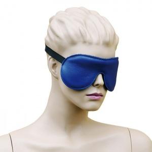 Leder Augenmaske mit Gummizug Blau-Schwarz - 0126-BS
