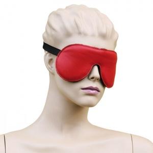 Leder Augenmaske mit Gummizug Rot-Schwarz - 0126-RS