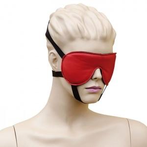 Leder Augenmaske mit 3 Gummizügen Rot-Schwarz - 0127-RS
