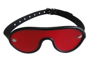 Leder Augenmaske mit verstellbarem Riemen Rot - 0327-R