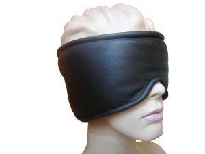 Leder Augenmaske extra lang verstellbar Schwarz - 0344