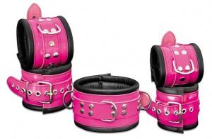 Leder Fesselset Pink - 0104-1/-2/-3P