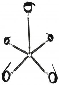 """Universalverbindungsgurt mit Karabinerhaken """"Hogtie"""" mit Zusatzhalsverbindung verstellbar und Fesselset - 0378-3"""