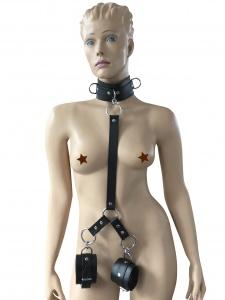 Halsband mit Lederverbindung und Handfesseln - 0428-S