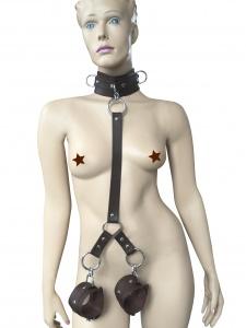 Halsband mit Lederverbindung und Handfesseln - 0428-BRA