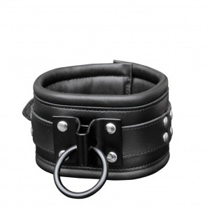 Leder Halsfessel mit schwarzer Platte / geschweißtem Ring - 0112-1