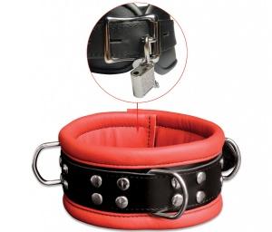 Leder Halsfessel Rot abschließbar - 0101-1RK
